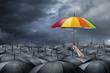 Leinwanddruck Bild - rainbow umbrella concept