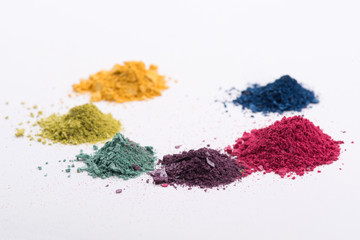 Close-up view of  heaps crashed eyeshadow in different colours i