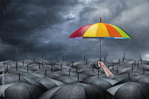 canvas print picture rainbow umbrella concept