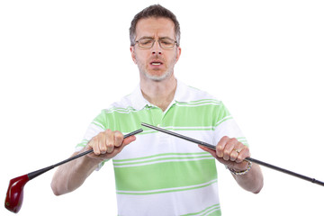 being a sore loser and breaking his golf club