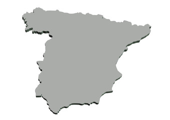 gri renkli ispanya haritası