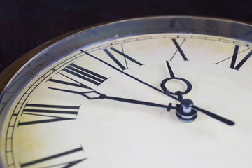 Close up view on clock face of historical watches