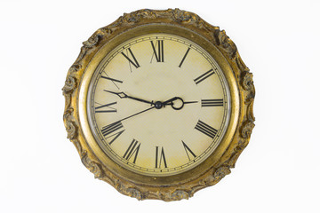 Historical watches with old clock face and golden frame