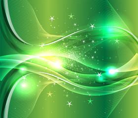 Wave burst star green background