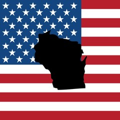 Illustration of the United States of America State - Wisconsin