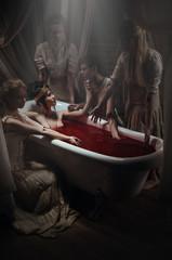 Woman having a blood bath