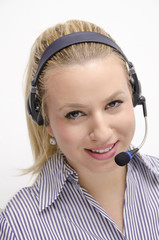 Girl working in a call center