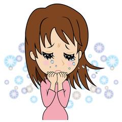 涙を流す若い女性(描写入り)