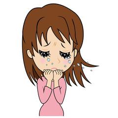涙を流す若い女性