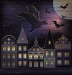 Happy Halloween night wallpaper, vector illustration