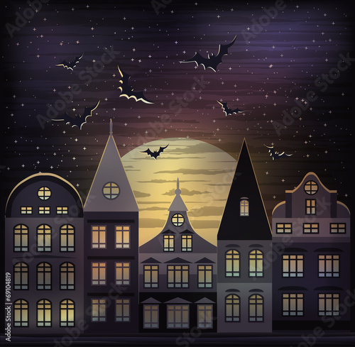 Happy Halloween night background, vector