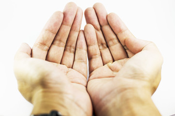 Hand on closeup in Isolated Background