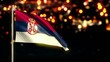Serbia National Flag City Light Night Bokeh Loop Animation