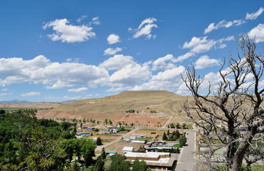 view from above on dubois town, wyoming state, usa