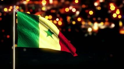 Senegal National Flag City Light Night Bokeh Loop Animation