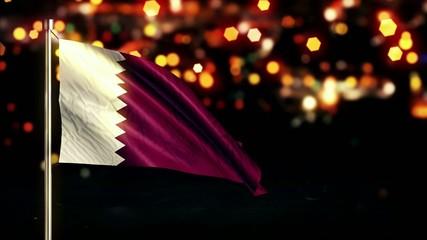 Qatar National Flag City Light Night Bokeh Loop Animation