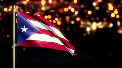 Puerto Rico National Flag City Light Night Bokeh Loop Animation