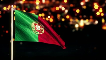 Portugal National Flag City Light Night Bokeh Loop Animation