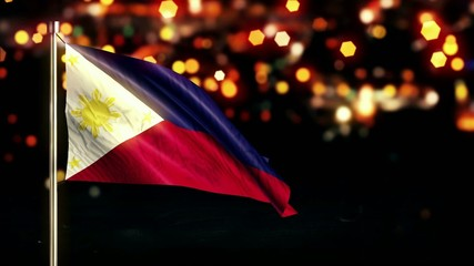 Philippines National Flag City Light Night Bokeh Loop Animation