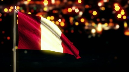 Peru National Flag City Light Night Bokeh Loop Animation