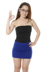 bright picture of lovely young girl showing ok sign