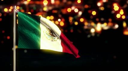 Mexico National Flag City Light Night Bokeh Loop Animation