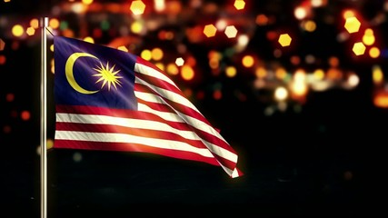 Malaysia National Flag City Light Night Bokeh Loop Animation
