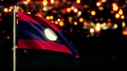 Laos National Flag City Light Night Bokeh Loop Animation