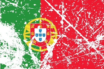 Illustration of a decayted flag of Portugal