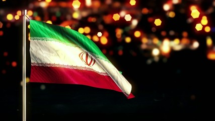 Iran National Flag City Light Night Bokeh Loop Animation