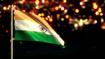 India National Flag City Light Night Bokeh Loop Animation