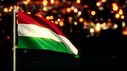 Hungary National Flag City Light Night Bokeh Loop Animation