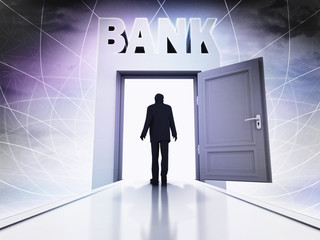 person going to bank through magic doorway background