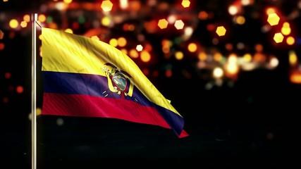 Ecuador National Flag City Light Night Bokeh Loop Animation