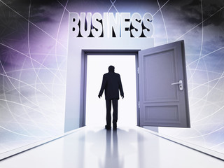 person going to do business behind magic doorway background