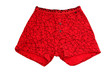 Men's red boxers briefs on the buttons on white background