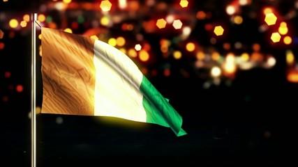 Cote D'Ivoire National Flag City Light Night Bokeh Loop