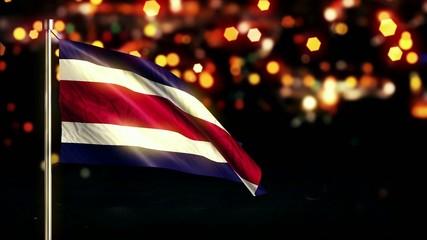 Costa Rica National Flag City Light Night Bokeh Loop Animation