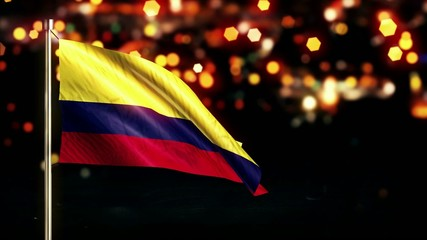Colombia National Flag City Light Night Bokeh Loop Animation