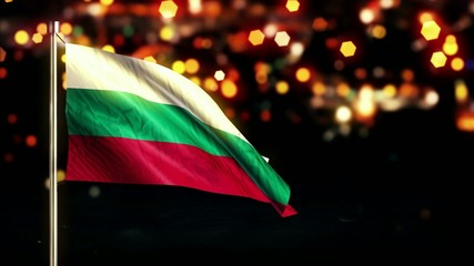 Bulgaria National Flag City Light Night Bokeh Loop Animation
