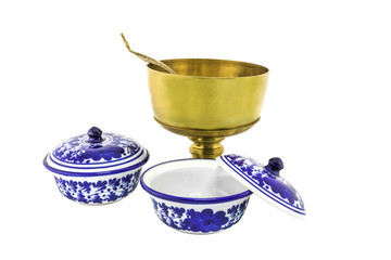 antique brazen rice bowl and ceramic bowl isolated
