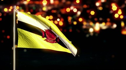 Brunei National Flag City Light Night Bokeh Loop Animation