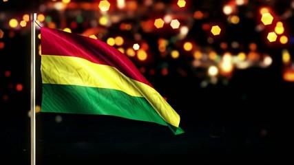 Bolivia National Flag City Light Night Bokeh Loop Animation
