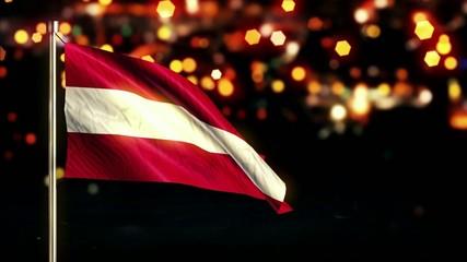 Austria National Flag City Light Night Bokeh Loop Animation