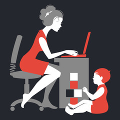 Beautiful silhouette of mother freelancer with notebook