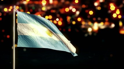 Argentina National Flag City Light Night Bokeh Loop Animation