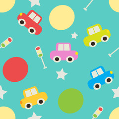 Seamless pattern with cartoon cars.