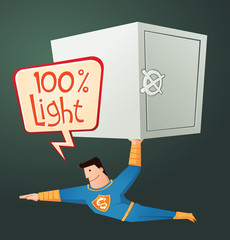 flying superhero carry a deposit box