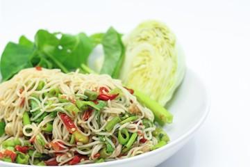 Rice vermicelli spicy salad, Thai style