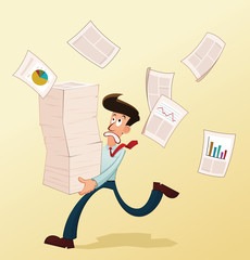 young worker lifting a pile of documents